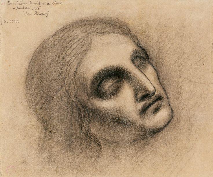 Jan Zrzavý, Head of John the Baptist, 1910, charcoal, crayon, paper, 22,4 x 26,8 cm, PNP