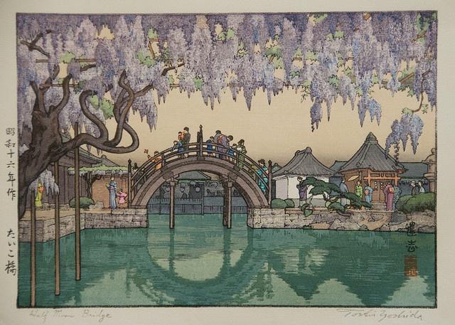 Ukiyo-e Toshi Yoshida Taiko Bashi by griffinlb, via Flickr