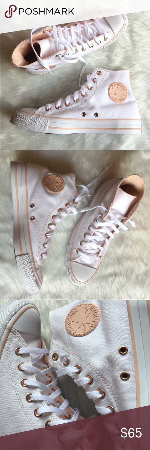 CONVERSE WOMENS SIZE 10 WHITE ROSE GOLD SHOES Shoes are custom made from the Nike website. Nike iD. Brand new without box. Converse Shoes Sneakers
