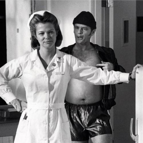 Jack Nicholson and Louise Fletcher playing around while filming...