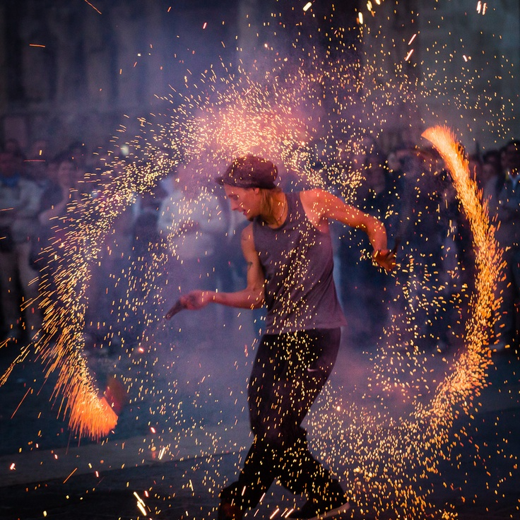 Dance with fire or saturday night fire !-- I saw   this dance performed by an entire troupe of gypsies at a square in Budapest, Hungary. Loved it!  DD