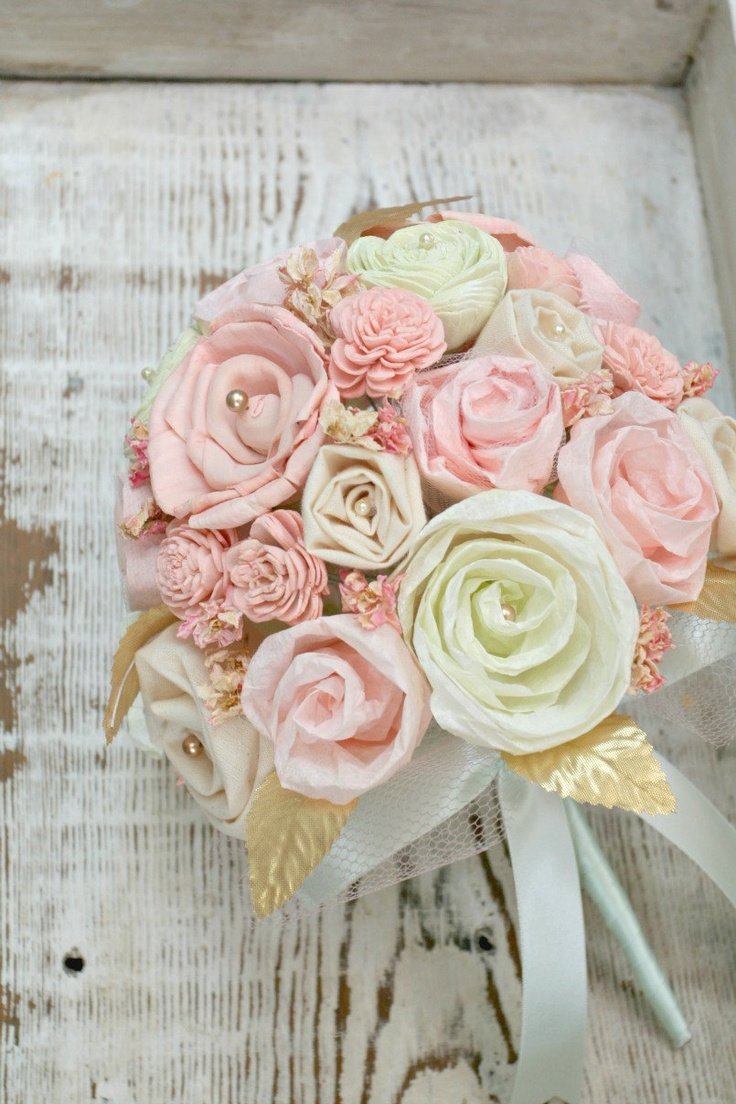 Wedding Flowers Pink And Gold : Pastel bridal bouquet pink mint gold wedding