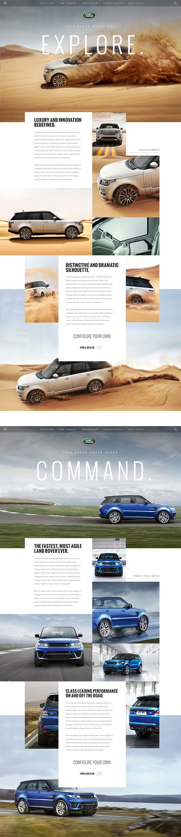 LandRover.com on Behance. When looking for website design inspiration, look toward the best brands. webdesign inspiration www.niceoneilike.com