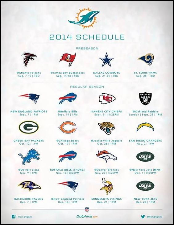 Miami Dolphins 2014 Football Schedule.