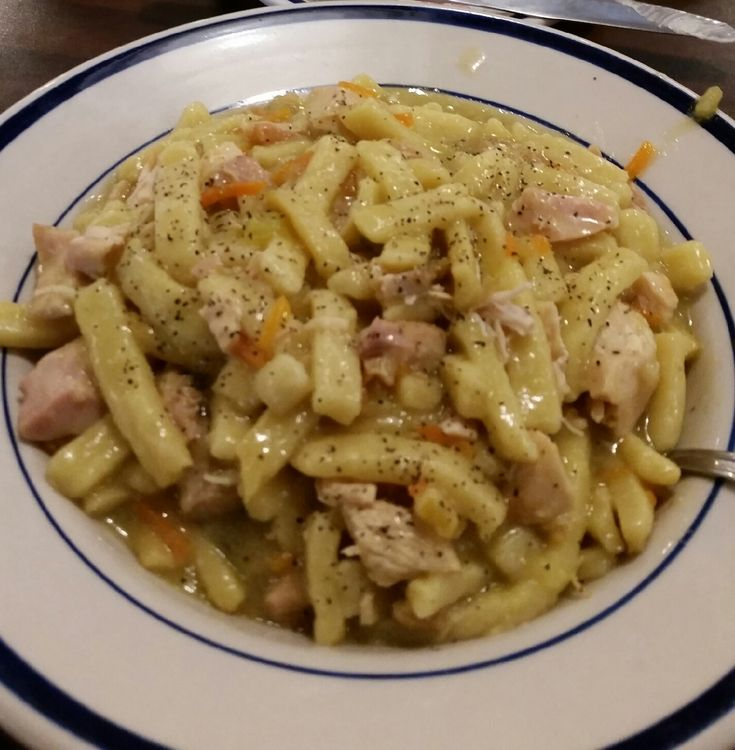 Bob Evans chicken and noodles {this is my pic of the bowl I had when there}  the link is a copycat link -Kathy H