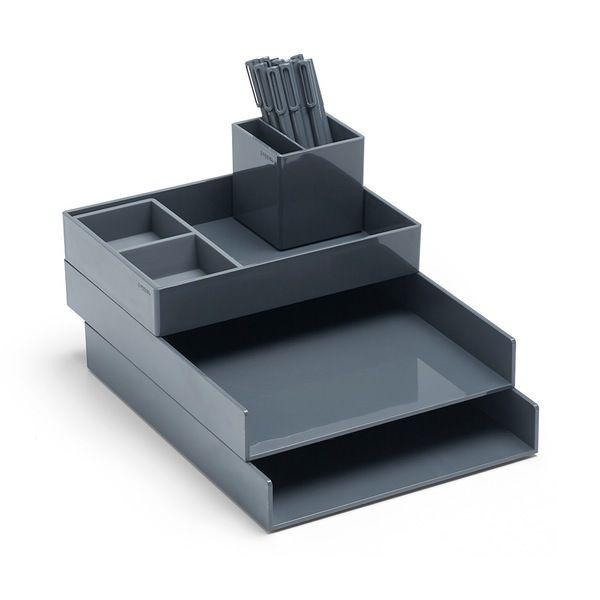 Poppin Dark Gray Super Stacked Desk Accessories Bundle