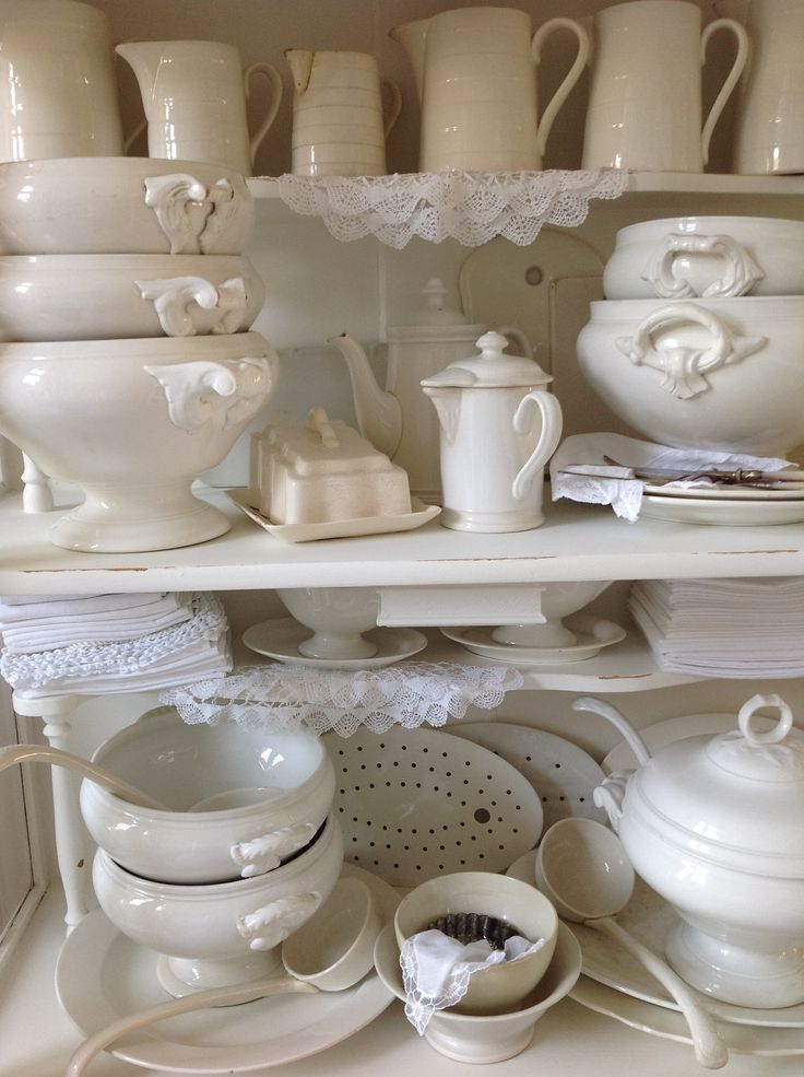 - ♥ - old white tureens and other white china...in the china closet