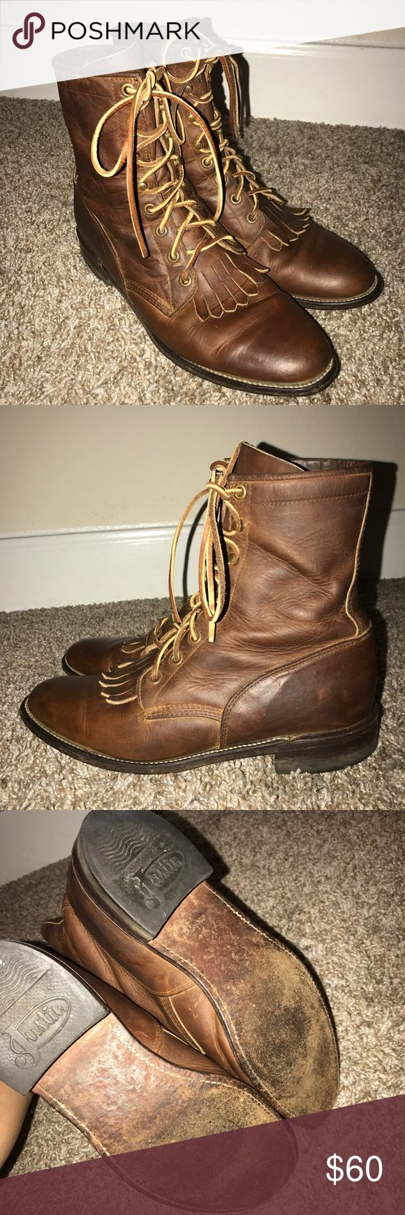 Justin Work Boot Lace Up Western Roper Kiltie Boot Pre-owned. Show wear on soles and insoles. All leather. Shows some scratches/marks from wear. Laces show wear. No holes or tears. Overall good condition. Justin Boots Shoes Lace Up Boots