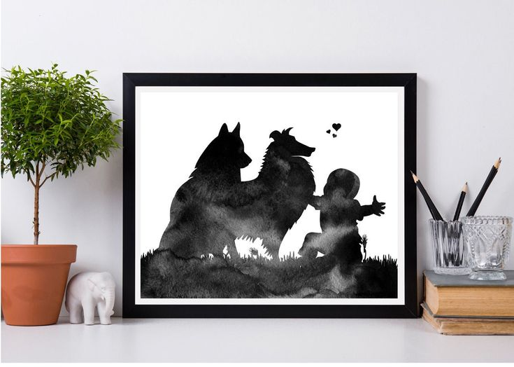 Baby print Nursery baby print Love print Pregnancy announcement Instant download Baby with 2 huskies Husky wall decor Watercolor art