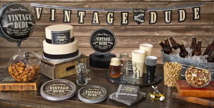 Vintage Dude Over the Hill Party Supplies - Happy Birthday Party ...
