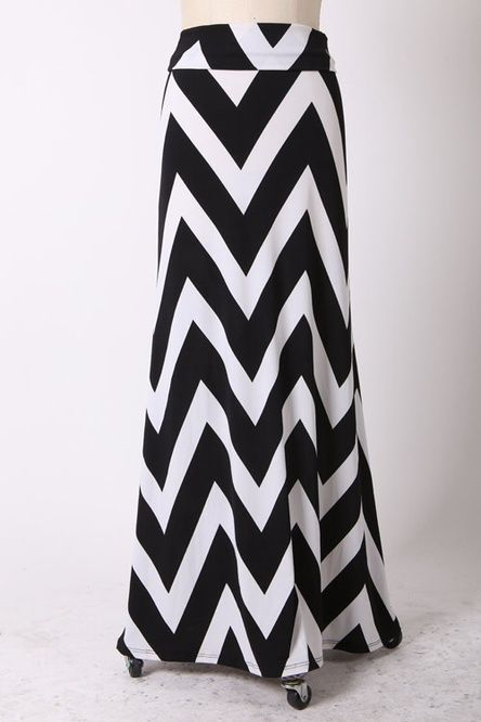 Plus Size Chevron Maxi Skirt Black