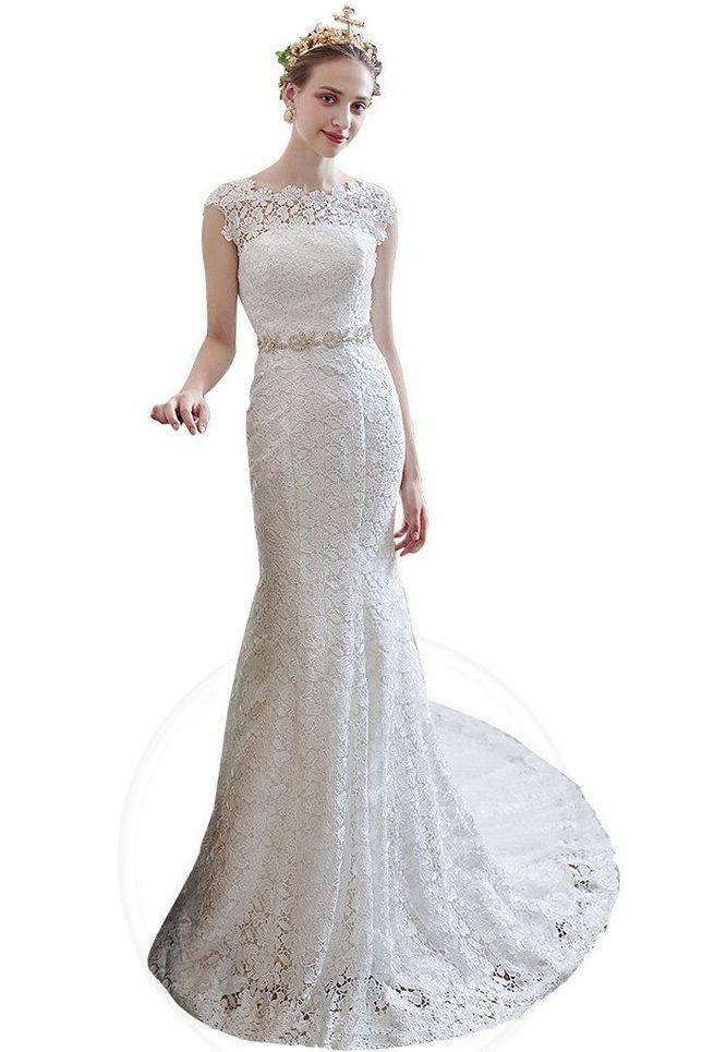 Meerjungfrau Hoher Kragen Spitze Leben bodenlanges Brautkleid mit Reißverschluss - Bild 1