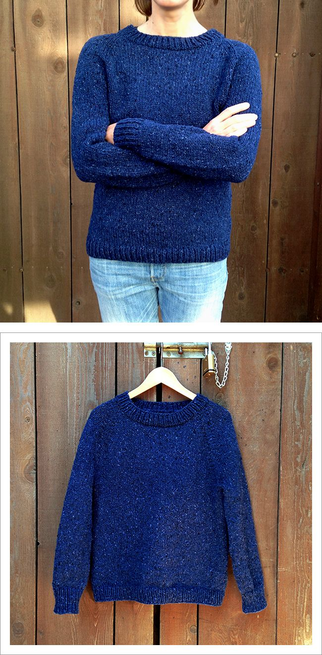 Improvised top-down raglan sweater knitting, how to