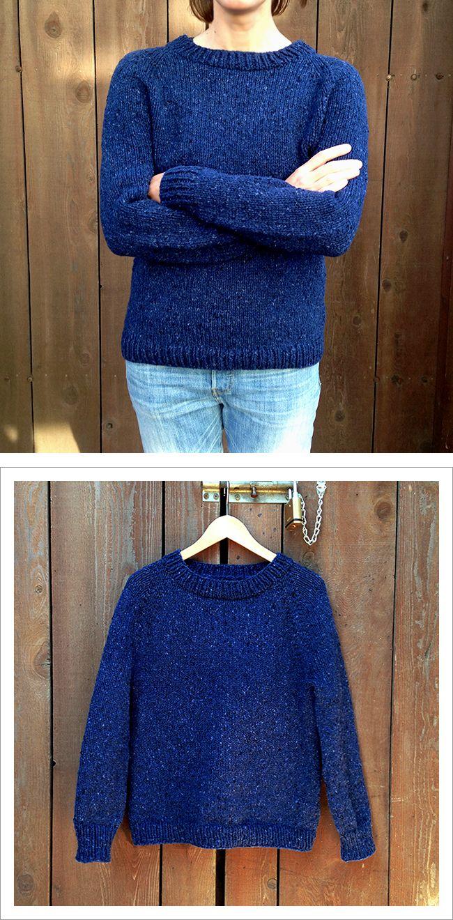 Improvised top-down raglan sweater knitting, how to