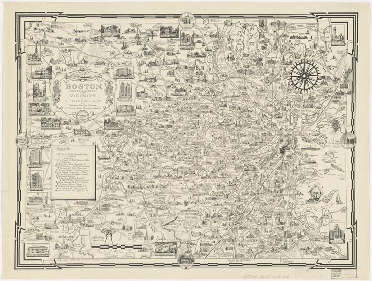 Pictorial Map of Boston, 1938