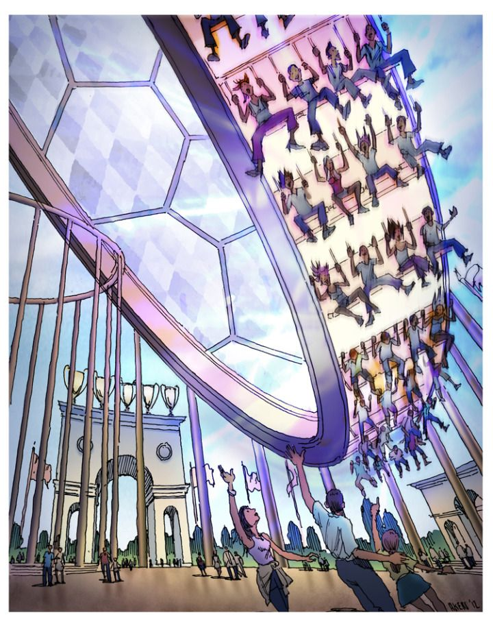 """Storyboard sketch for """"Soccer Ball Ferris Wheel"""" thrill ride, from """"Sketches for a proposed theme park for one of the world's most famous (European) football teams."""""""