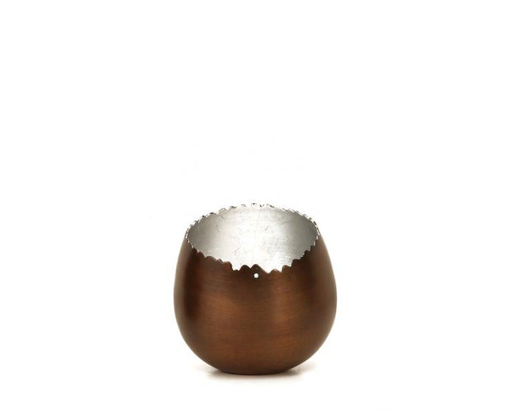 Two Tone Tilted Bronze & Silver Tealight - Candleholders | Weylandts