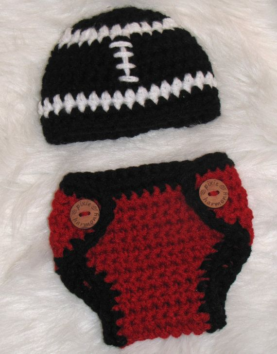 Baby Boy FOOTBALL Team Beanie Hat and Diaper Cover by pixieharmony, $34.95