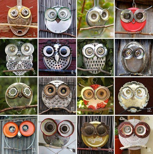 Tin metal owls