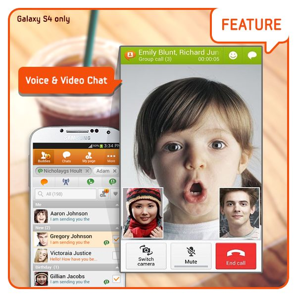 [Feature] Voice & Video Chat / ChatMAN's actions from last week: Voice & Video Chat  Listen up those who felt chatting with texts and Anicons unadaptable.  Now ChatON provides voice and video chatting so you can look and talk to your friend. (Galaxy S4 only) [기능소개] 음성*영상 통화/ 텍스트와 애니콘으로만 하는 채팅이 답답했던 분들 주목해주세요.  이제 ChatON의 음성 & 영상 채팅으로 친구와 얼굴을 보며 마음껏 이야기하세요. (Galaxy S4 only)