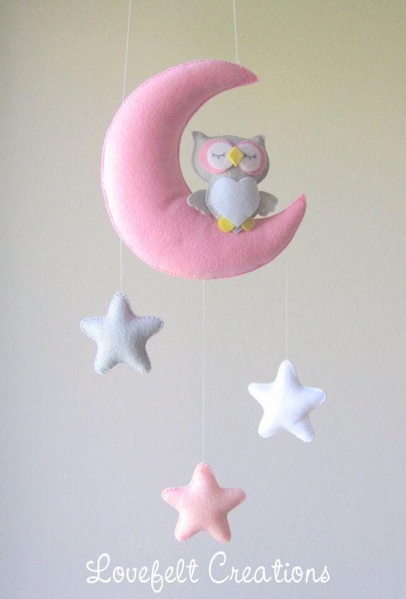 READY TO SHIP Baby mobile Owl mobile Crib por LoveFeltXoXo