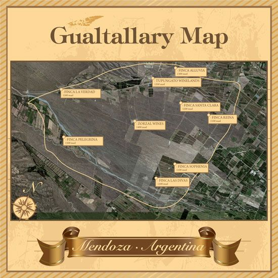 Gualtallary Map By At Caminosdelvino Wine Maps Map Y Wine