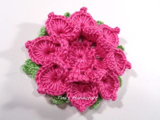 Tina's handicraft : video tutorial & pattern - 3D crochet flower No 12...