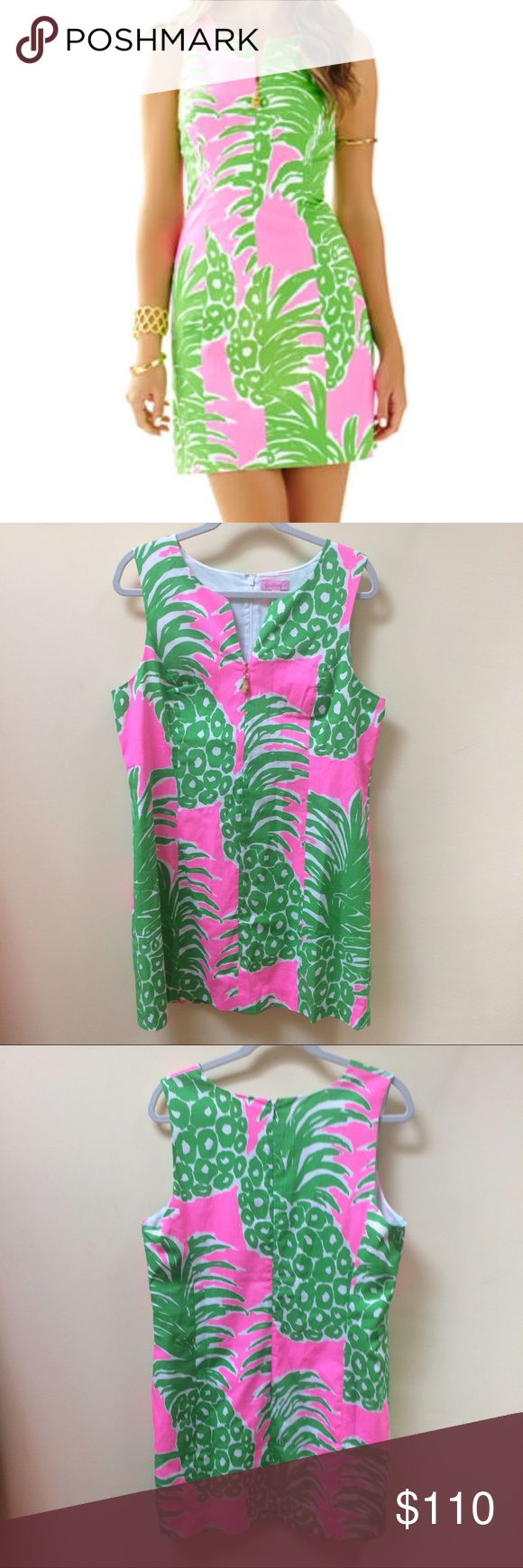 NWOT Lilly Pulitzer Pink Pout Flamenco Dress 16 Popular green and hot pink pineapple print pink pout flamenco dress. 35 inches long and 20.5 inches across chest. Shift dress style, Zipper pull in front. New without tags! Cross posted. Lilly Pulitzer Dresses Mini