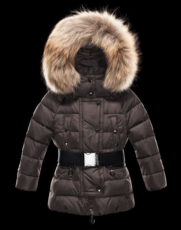 Moncler Kids Coat Brown With Belt NA1056