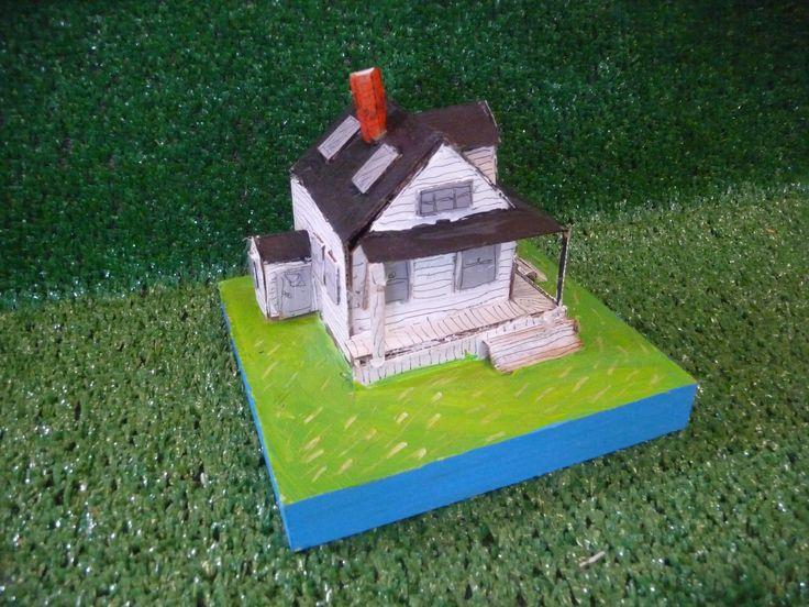 cardboard house on wood #3 $150