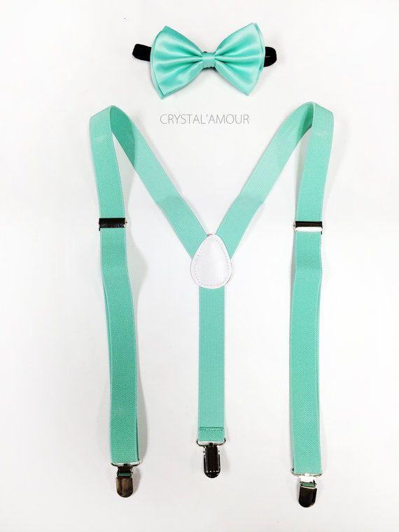 mint green bow tie and suspenders  mint green by crystalAmour, $23.95