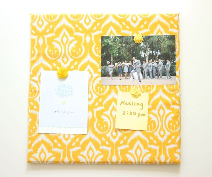 A personal favorite from my Etsy shop https://www.etsy.com/listing/250079214/12x12-yellow-damask-cork-board-tile