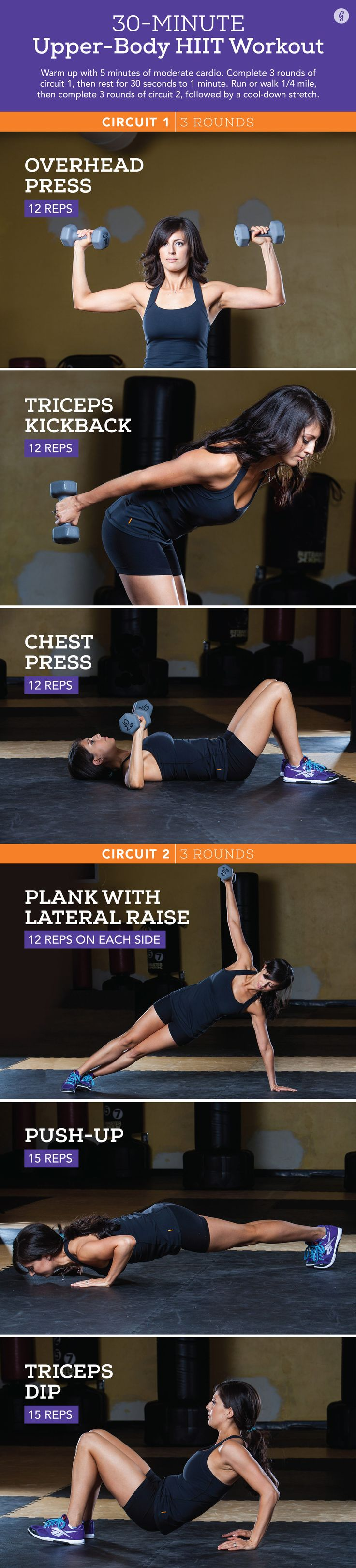 "The saying ""less is more"" has never been so true. In less than 30 minutes, you'll target and strengthen every muscle above your waist. #hiit #workout #arms #fitness http://greatist.com/move/quick-upper-body-hiit-workout"