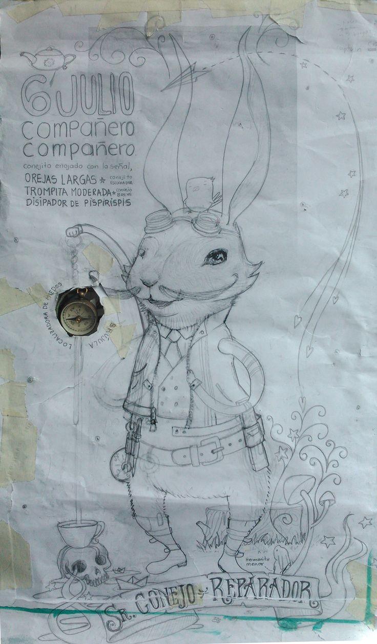Señor Conejo Reparador, con su brújula mágica para localizar miedos.