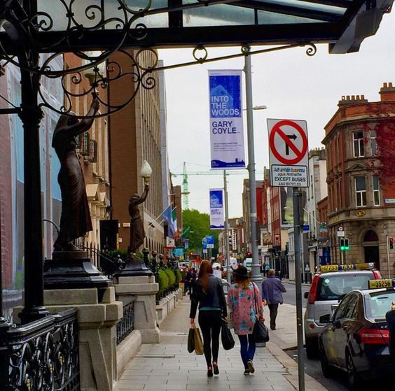 Dublin City Council Lamppost Banners outside the Shelbourne --'Into the Woods' by Gary Coyle at the RHA #civicmedia2015 #IrishArtist