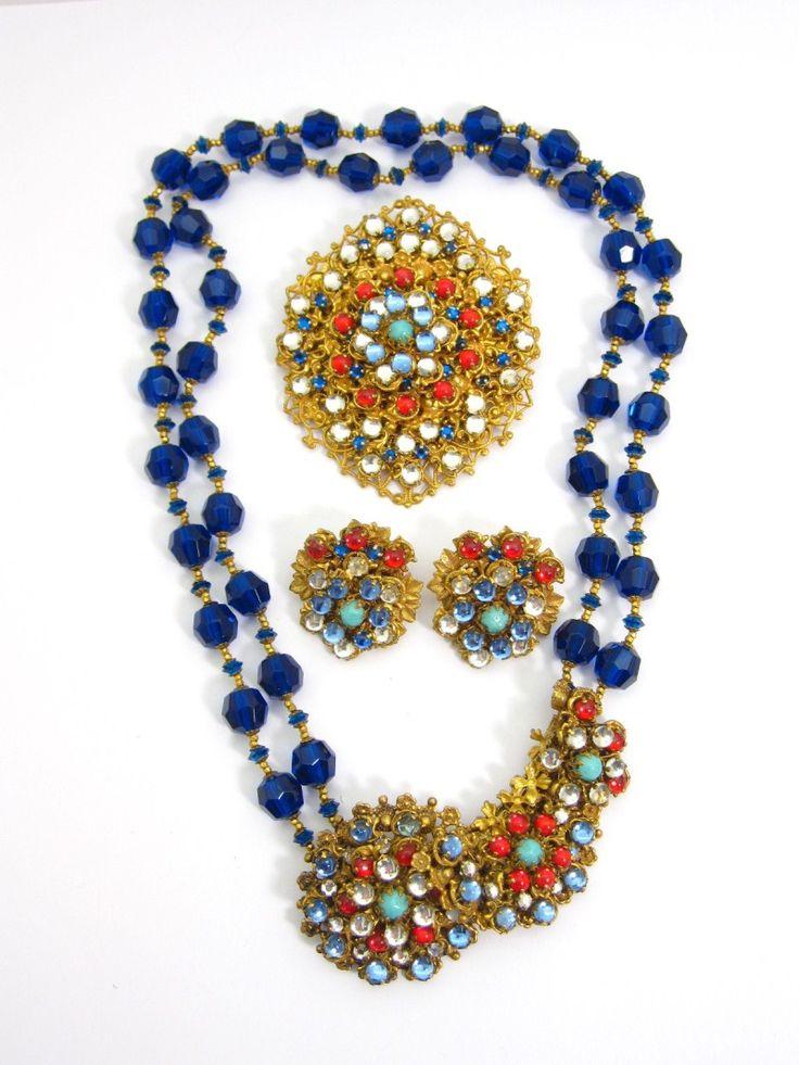 Miriam Haskell Cabochon Jewel Tone Rhinestone Parure  http://www.agedandopulentjewelry.com