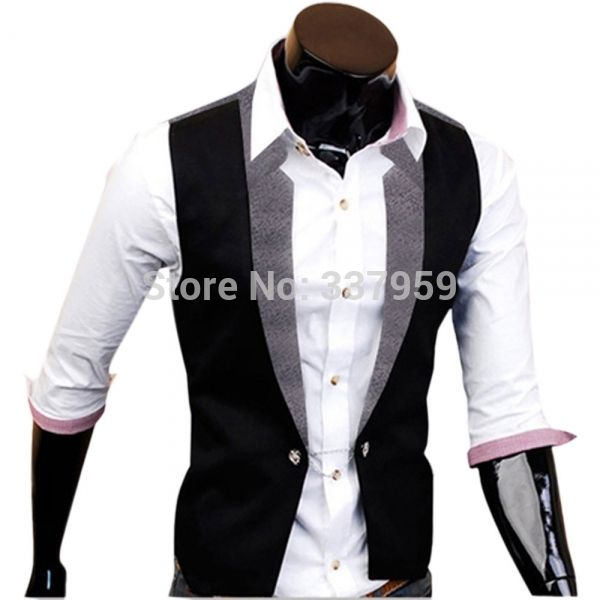 New Morden Fashion Casual Top V-neck Slim Fit Men's Business Vest Waistcoat Man Party Wear Cotton Coat Black Grey M L XL