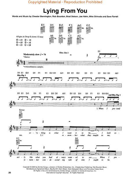 Numb By Linkin Park Sheet Music T Linkin Park And