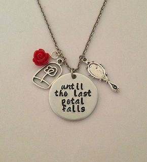 """Disney inspired Beauty and the Beast necklace """"until the last petal falls"""" Belle hand stamped rose charms"""
