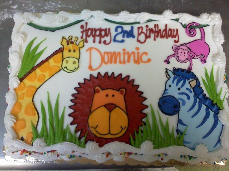 Jungle Animal Sheet Cake