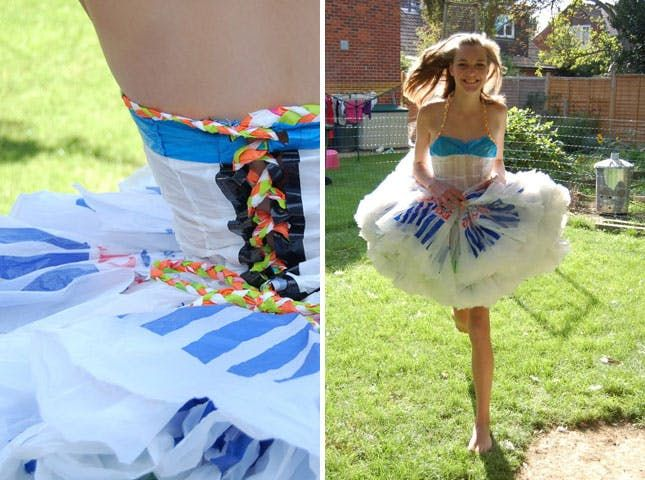 "In prepping for Earth Day, we got to thinking about all the awesome ways you can repurpose materials that would normally be discarded. As we started searching for eco-chic inspiration, we came across a plethora of dresses, frocks, and gowns made from everything from plastic bags to candy wrappers. Here are 15 of our favorite ""trashy"" fashions."