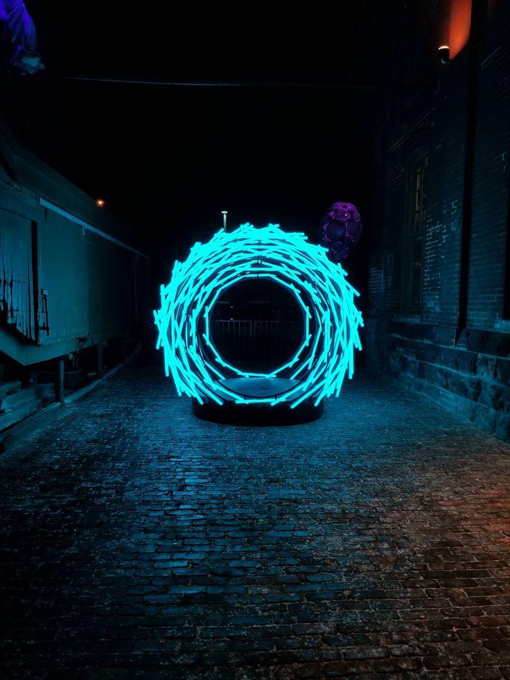 Cyan Cyberpunk Light Tunnel Still Life Images