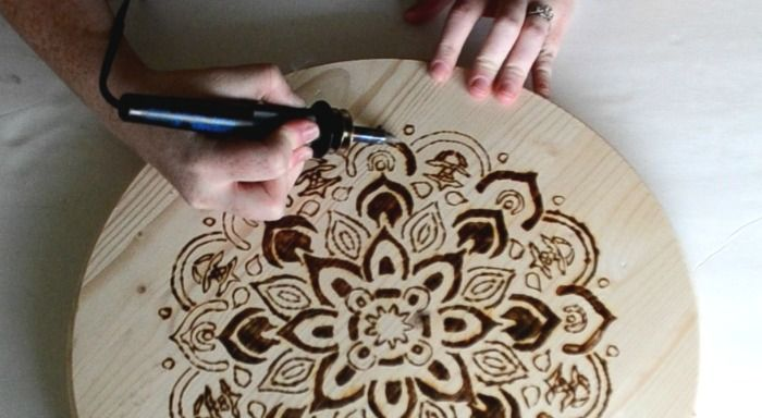 wood burn mandala stool