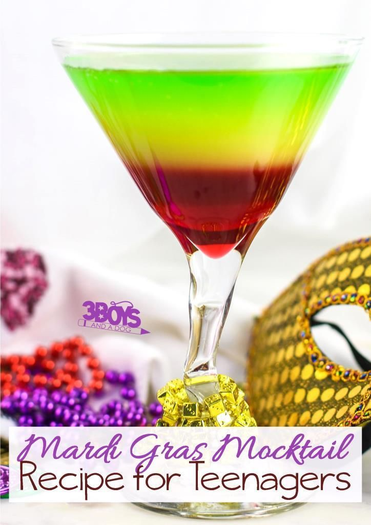 Rainbow Mocktail for Teenagers - perfect drink recipe for Mardi Gras and Saint Patrick's Day
