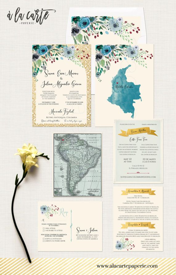 South America Bilingual Destination wedding invitation English Spanish Portuguese Wedding with Flower Illustration map - Design fee  We can customize the map on the back of the invitation to reflect your country.  This listing is for a ONE-TIME DESIGN FEE to start the process of personalizing your own custom wedding stationery - designed and printed by us! Printing fees are separate, listed in the description below. This fee does not go towards printing…