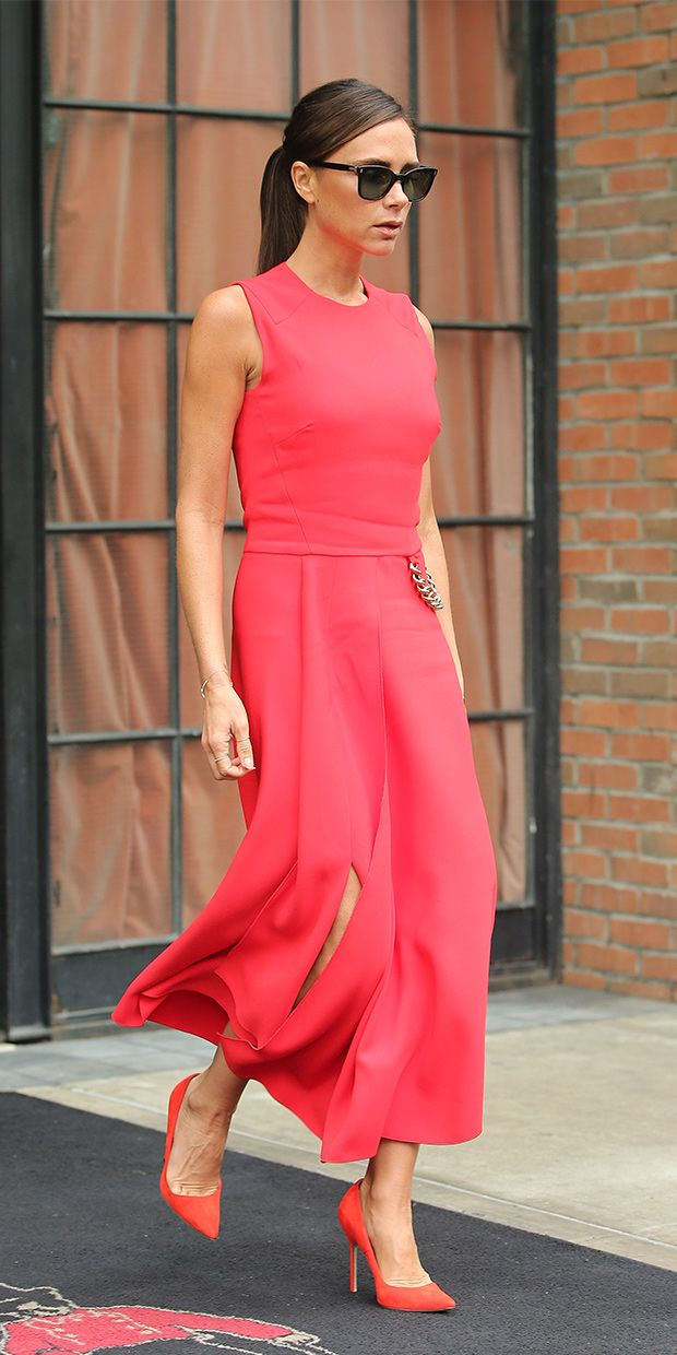 We're OBSESSING over this vibrant pink look on Victoria Beckham // Victoria Beckham dress and Marine Cat Sunglasses