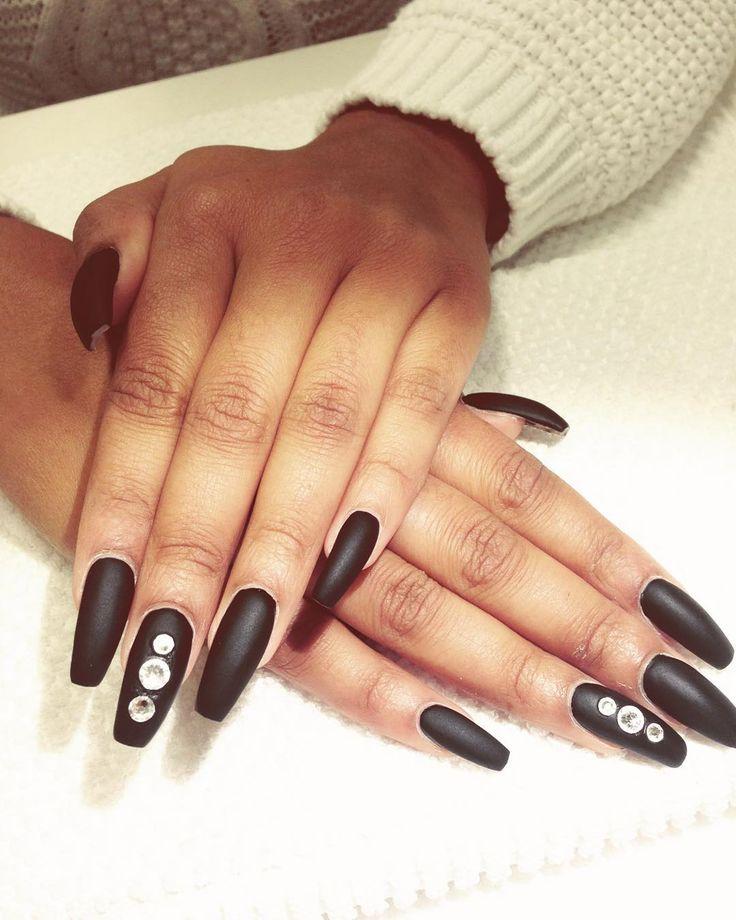 """Ballerina shape with black nail polish and matt top coat…"