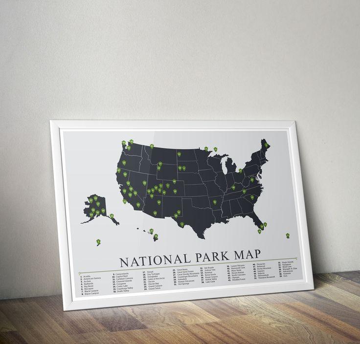 National Park Map, National Park Print, National Park