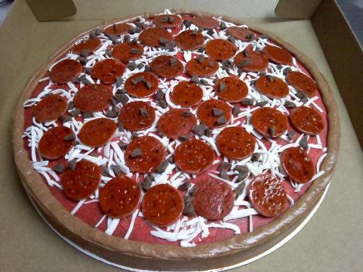 pizza cake round vanilla cake with buttercream icing fondant pepperoni ...