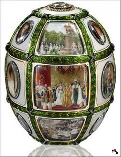 Faberge egg with paintings of the Imperial Family.